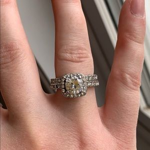 Sterling Silver Cubic Zirconia Ring Set Size 6